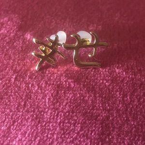 Gold plated kanji post earrings happiness Shiawase